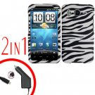 For HTC Desire HD Car Charger +Cover Hard Case Zebra 2-in-1