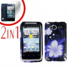 For HTC Evo Shift 4G Cover Hard Case B-Flower +Screen 2-in-1