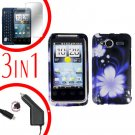 For HTC Evo Shift 4G Car Charger +Cover Hard Case B-Flower +Screen 3-in-1
