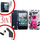 For Motorola Atrix 4G MB860 Car Charger +Cover Hard Case W-Flower +Screen 3-in-1