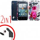 For Motorola Atrix 4G MB860 Car Charger +Cover Hard Case W-Flower 2-in-1