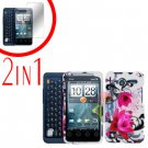 For Motorola Atrix 4G MB860 Cover Hard Case W-Flower + Screen Protector 2-in-1