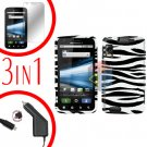 For Motorola Atrix 4G MB860 Car Charger +Cover Hard Case Zebra +Screen 3-in-1