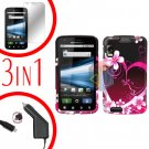 For Motorola Atrix 4G MB860 Car Charger +Cover Hard Case Love +Screen 3-in-1