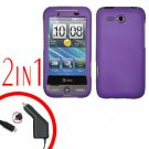For HTC Freestyle Car Charger +Cover Hard Case Purple 2-in-1