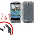 For HTC Freestyle Car Charger +Cover Hard Case Clear 2-in-1