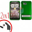 For HTC ThunderBolt Car Charger +Cover Hard Case Rubberized Green 2-in-1