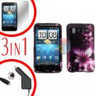 For HTC Inspire 4G Car Charger +Cover Hard Case L-Flower +Screen 3-in-1