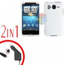 For HTC Inspire 4G Car Charger +Cover Hard Case White 2-in-1