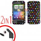 For HTC Incredible S Car Charger +Cover Hard Case R-Dot 2-in-1