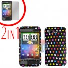 For HTC Incredible S Cover Hard Case R-Dot + Screen Protector 2-in-1