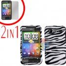 For HTC Incredible S Cover Hard Case Zebra + Screen Protector 2-in-1