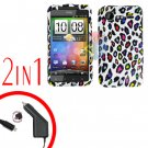 For HTC Incredible S Car Charger +Cover Hard Case R-Leopard 2-in-1