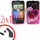 For HTC Incredible S Car Charger +Cover Hard Case Love 2-in-1