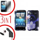 For HTC Inspire 4G Car Charger +Cover Hard Case B-Flower +Screen 3-in-1
