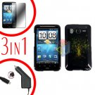 For HTC Inspire 4G Car Charger +Cover Hard Case Dream Tree +Screen 3-in-1
