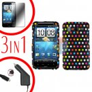 For HTC Desire HD Car Charger +Cover Hard Case R-Dot +Screen 3-in-1