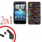 For HTC Desire HD Car Charger +Cover Hard Case R-Dot 2-in-1
