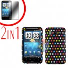 For HTC Inspire 4G Cover Hard Case R-Dot + Screen Protector 2-in-1