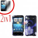 For HTC Inspire 4G Cover Hard Case B-Flower + Screen Protector 2-in-1