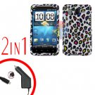 For HTC Desire HD Car Charger +Cover Hard Case R-Leopard 2-in-1