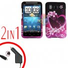 For HTC Desire HD Car Charger +Cover Hard Case Love 2-in-1