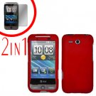 For HTC Freestyle Cover Hard Case Red + Screen Protector 2-in-1