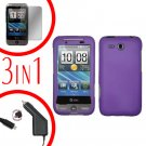For HTC Freestyle Car Charger +Cover Hard Case Purple +Screen 3-in-1