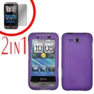 For HTC Freestyle Cover Hard Case Purple + Screen Protector 2-in-1