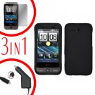 For HTC Freestyle Car Charger +Cover Hard Case Black +Screen 3-in-1