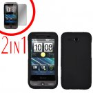 For HTC Freestyle Cover Hard Case Black + Screen Protector 2-in-1