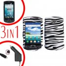 For Samsung Gem i100 Car Charger +Hard Case Zebra +Screen Protector