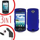 For Samsung Gem i100 Car Charger +Hard Case Blue +Screen Protector