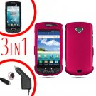 For Samsung Gem i100 Car Charger +Hard Case R-Pink +Screen Protector