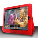 For Apple ipad 2 Cover Leather Case w/ Kick Stand Red