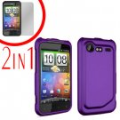 For HTC Incredible S Cover Hard Case Purple + Screen Protector 2-in-1