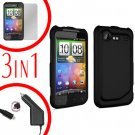 For HTC Incredible S Car Charger +Cover Hard Case Black +Screen 3-in-1