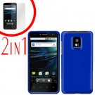For LG T-Mobile G2x Cover Hard Case Rubberized Blue +Screen 2-in-1