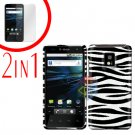 For LG T-Mobile G2x Cover Hard Case Rubberized Zebra +Screen 2-in-1