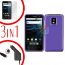 For LG T-Mobile G2x Car Charger +Cover Hard Case Purple +Screen 3-in-1