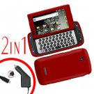 For Samsung Sidekick 4G Car Charger +Cover Hard Case Red 2-in-1