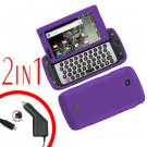 For Samsung Sidekick 4G Car Charger +Cover Hard Case Purple 2-in-1