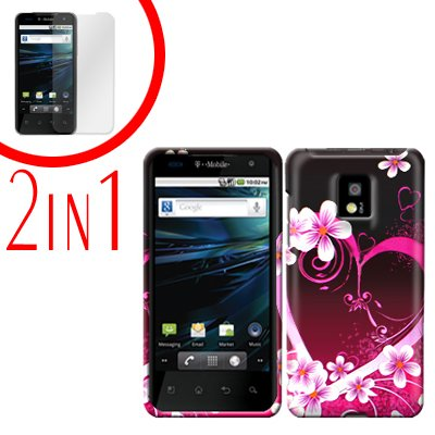 For LG T-Mobile G2x Cover Hard Case Love +Screen 2-in-1