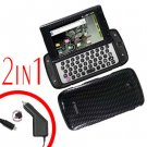 For Samsung Sidekick 4G Car Charger +Cover Hard Case Carbon Fiber 2-in-1