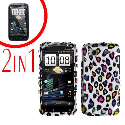 For HTC Sensation Cover Hard Case R-Leopard + Screen Protector 2-in-1