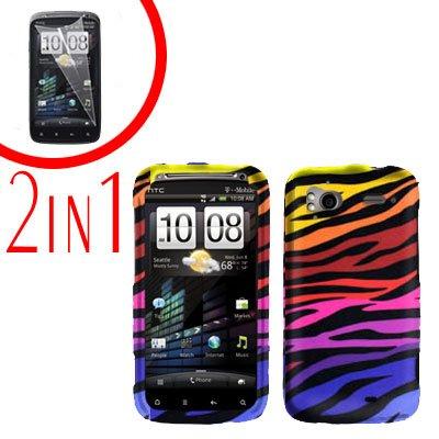 For HTC Sensation Cover Hard Case C-Zebra + Screen Protector 2-in-1