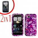 For HTC Sensation Cover Hard Case P-Flower + Screen Protector 2-in-1