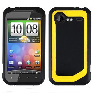 FOR HTC Droid Incredible 2 Cover Hard Phone Case 2-Tone Black/Yellow
