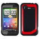 FOR HTC Droid Incredible 2 Cover Hard Phone Case 2-Tone Black/Red