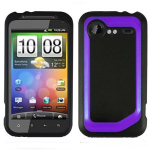 FOR HTC Droid Incredible 2 Cover Hard Phone Case 2-Tone Black/Purple